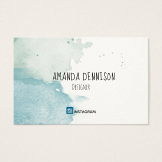 Organic Moss and Pond Watercolor Business Card