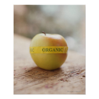 Organic sticker on apple poster