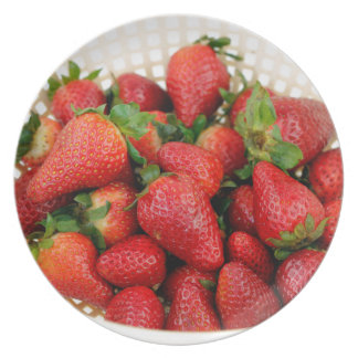 Organic Strawberries in a Colander Plate
