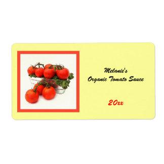 Organic tomato sauce home preserve label shipping label