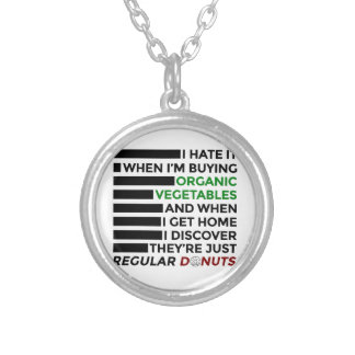 Organic Vegetables Love Donuts Silver Plated Necklace