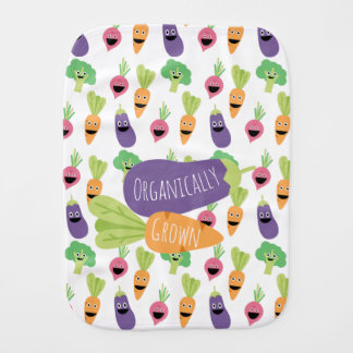 Organically Grown Happy Cartoon Vegetables Burp Cloth