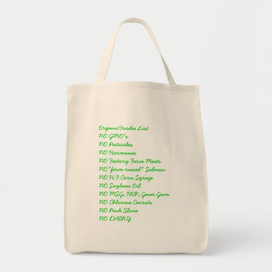 OrganicFoodie List Grocery Bag