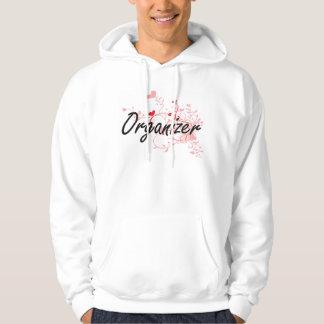 Organizer Artistic Job Design with Hearts Hooded Sweatshirts
