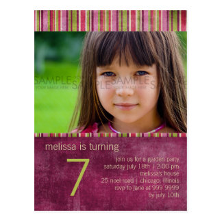 Orient Stripe Burgundy • Birthday Party Invitation Postcard