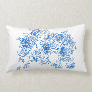 Oriental Accent Blue and White Porcelain Floral Lumbar Pillow