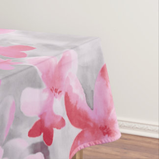 Oriental Accent Japanese Floral Soft Colors Pink Tablecloth
