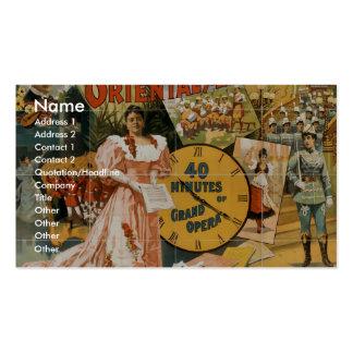 Oriental America 40 Minutes grand opera Vintage Business Cards
