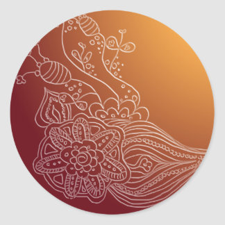 Oriental Arabic henna style sticker label