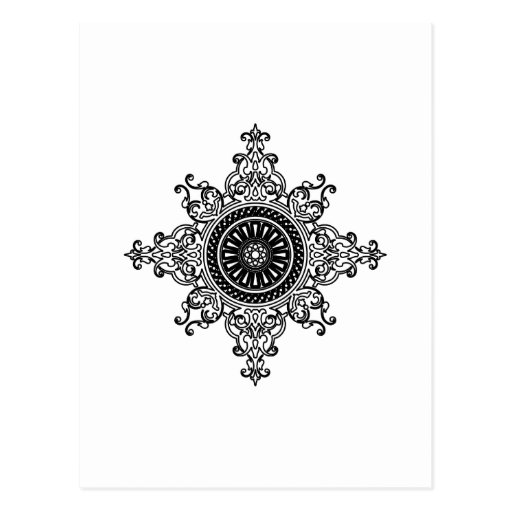 Oriental art black and white post card