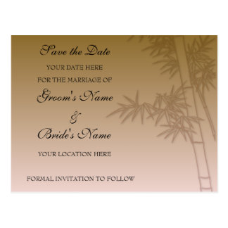 Oriental Bamboo Bouquet Save The Date Card