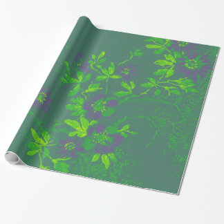 Oriental Bamboo Green Purple Emerald Cali Floral Wrapping Paper