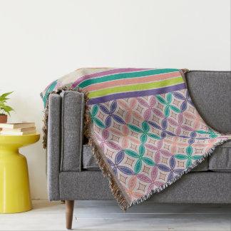 Oriental Batik Sakura Throw Blanket