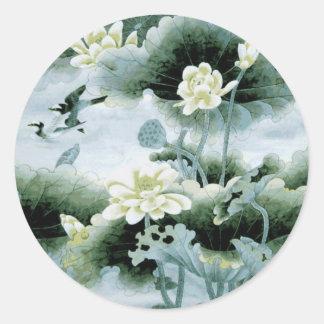 Oriental Birds and Flowers Round Sticker