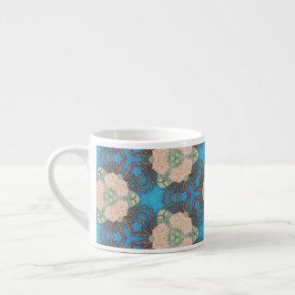 Oriental bloom pattern with ocean blue background espresso cup