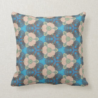 Oriental bloom pattern with ocean blue background throw pillow