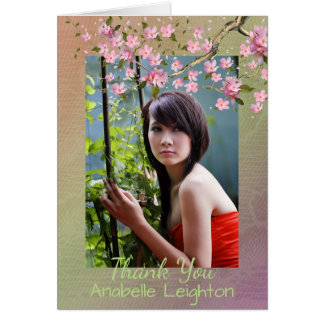 Oriental Blossom Photo Graduation Thank You Card