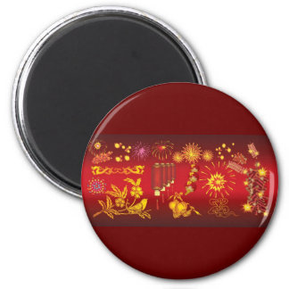 oriental celebrations red gold special fun party 2 inch round magnet