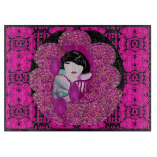 Oriental Charm Cutting Board-Pink/Purple/Black Cutting Board