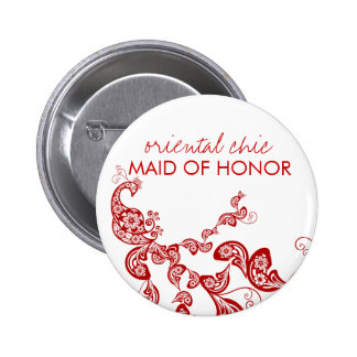Oriental Chic Red Floral Peacock Wedding Name Tag 2 Inch Round Button