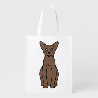 Oriental Cinnamon & Fawn Cat Cartoon Reusable Grocery Bag