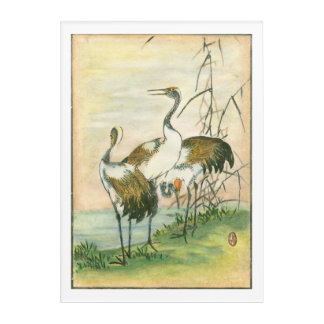 Oriental Cranes by the Water Acrylic Wall Art