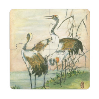 Oriental Cranes by the Water Drink Coaster Puzzle