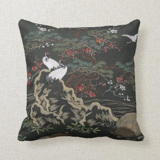 Oriental-CRANES Throw Pillow