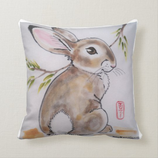 Oriental Design Rabbit Pillow, Original Artwork Throw Pillow
