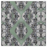 Oriental Faces Fabric on Seafoam Green, Grey/Black