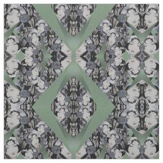Oriental Faces Fabric on Seafoam Green, Grey/Black