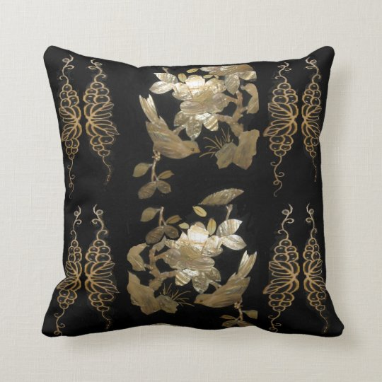 Oriental Flair Birds on Gold Leaf Pillow