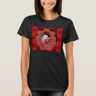 Oriental Flair T-Shirt for Women -Black/Red