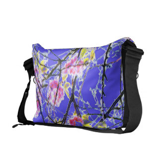 Oriental floral design vibrant blue pink green courier bags