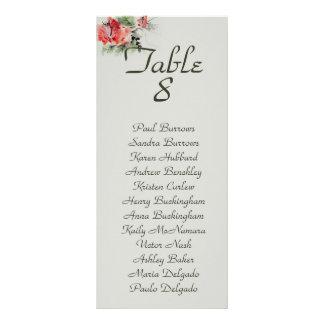 Oriental floral watercolor wedding seating chart rack card