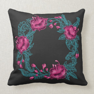 Oriental floral wreath embroidery throw pillow