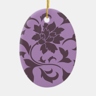 Oriental Flower - Cherry Chocolate & Lilac Ceramic Ornament