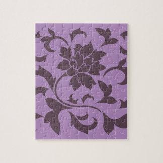 Oriental Flower - Cherry Chocolate & Lilac Jigsaw Puzzle