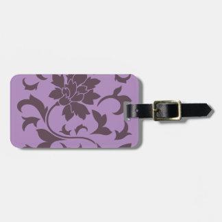 Oriental Flower - Cherry Chocolate & Lilac Luggage Tag