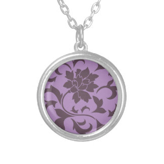 Oriental Flower - Cherry Chocolate & Lilac Silver Plated Necklace