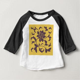 Oriental Flower - Cherry Chocolate & Mustard Baby T-Shirt