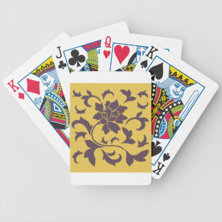Oriental Flower - Cherry Chocolate & Mustard Bicycle Playing Cards