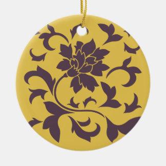 Oriental Flower - Cherry Chocolate & Mustard Ceramic Ornament