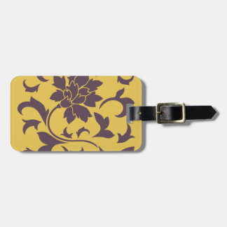 Oriental Flower - Cherry Chocolate & Mustard Luggage Tag