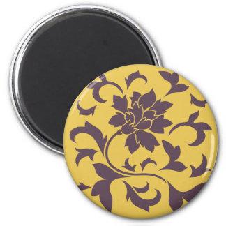 Oriental Flower - Cherry Chocolate & Mustard Magnet