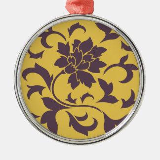 Oriental Flower - Cherry Chocolate & Mustard Metal Ornament