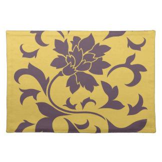 Oriental Flower - Cherry Chocolate & Mustard Placemat