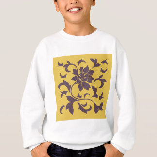 Oriental Flower - Cherry Chocolate & Mustard Sweatshirt