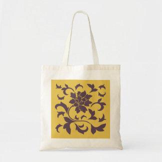 Oriental Flower - Cherry Chocolate & Mustard Tote Bag