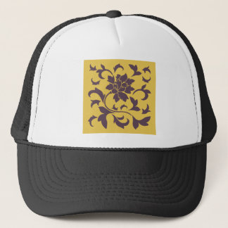 Oriental Flower - Cherry Chocolate & Mustard Trucker Hat
